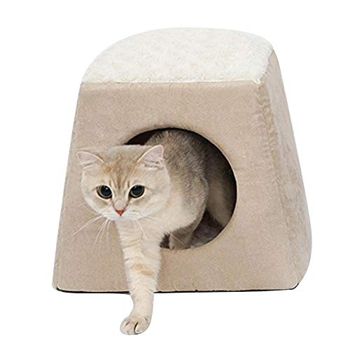AOSHE Foldable Pet Bed Dog Cat Bed House Winter Sleeping Bag Portable Warm And Comfortable Indoor Nest Puppy Tent With Removable Pad-Beige