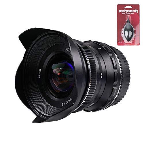 PERGEAR Lente fija de enfoque manual gran angular F2 de 12 mm, compatible con cámaras Micro Cuatro Tercios, M4/3, sin espejo con mini ventilador Pergear