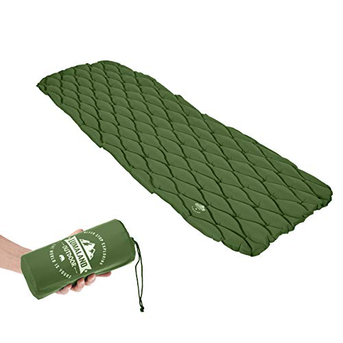 Lumaland Outdoor Campingmatte Isomatte Schlafmatte aufblasbare Luftmatratze fürs Zelt 188 x 60 x 6 cm Grün