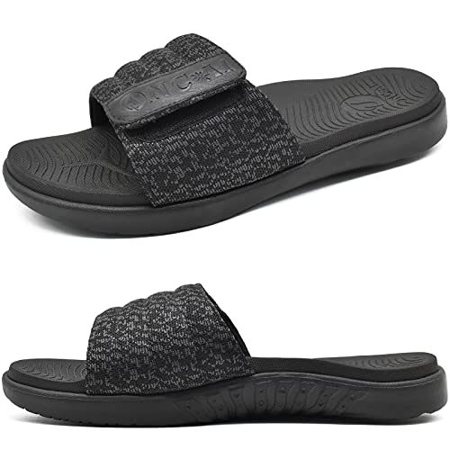 ONCAI Sandals for Mens Open Toe Adjustable Straps Athletic Orthotic Plantar Fasciitis Summer Sport Slide with Comfy Arch Support Footbed Black Size 11