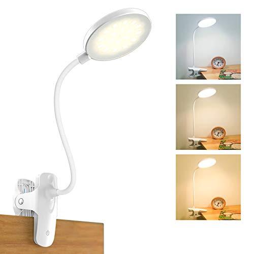 Leselampe Buch Klemme, Mefine 20 LED Klemmleuchte Bett Schreibtischlampe Schwanenhals, 3 Helligkeit 3 Farbtemperaturen Touch-Steuerung, 2800mah USB Wiederaufladbar Klemmlampe, 360° Flexibel