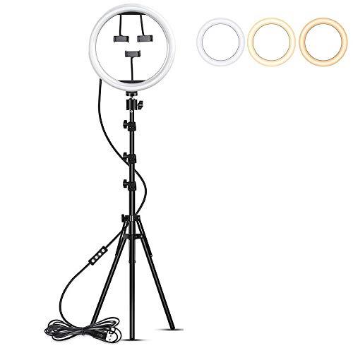 ZJING Luz anular con trípode 2M, luz anular de 10 Pulgadas para Selfie, 3 Modos de Color y 10 Luces anulares con LED de Brillo para Selfie, Vlog, Maquillaje, Youtube