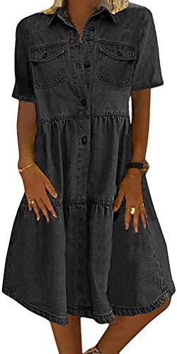Jeanskleid Sommerkleid Damen Jeans Kleider V-Ausschnitt Kurzarm Strandkleider Einfarbig A-Linie Kleid Boho Knielang Kleid Denimkleid (schwarz, 3XL)