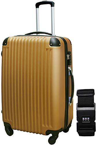 DABADA(ダバダ) スーツケース ベルト付 キャリーケース 機内持込 S M L ファスナー TSAロック (L, ブロンズ)