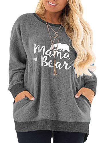 Womens Plus Size Sweatshirts Color Block Mama Bear Shirts Tops Tunics MDY-28W