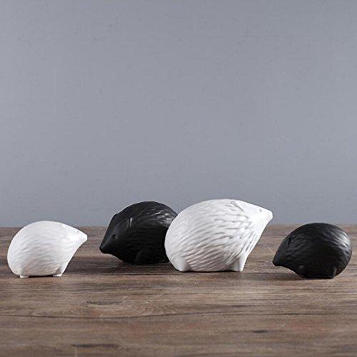 Moderne Minimaliste En Céramique Sculpture Noir Et Blanc Hérisson Décorations pour La Maison Creative Chambre Salon TV Cabinet Artisanat Décoration Rollsnownow (Couleur : C)