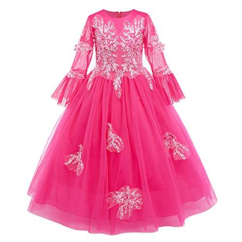 Vestido de dama de honor para niñas, manga 3/4, princesa, lentejuelas, flor, bordado, tul, bowknot tutú, boda, fiesta de cumpleaños, vestido de bola largo