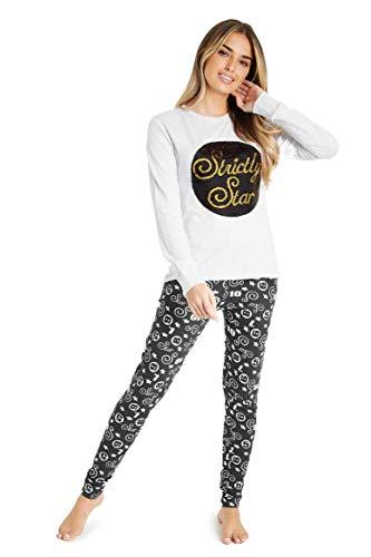 Strictly Come Dancing Dames Pyjama, Nachtkleding voor Vrouwen en Meisjes, Huispak met Lange Mouwen, Loungewear met Omkeerbare Pailletten, Cadeau Vrouw (M)