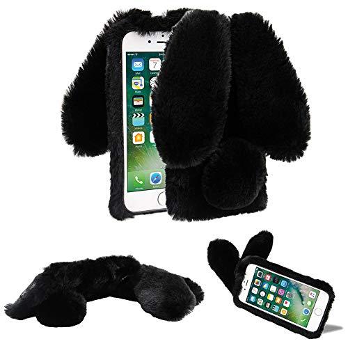 Funda de Felpa para iPhone 6 Plus/6S Plus 5.5' Piel sintética Mullido 3D Conejo Orejas Cubierta Suave y cálida Estuche Protector de TPU de Pelo con Diamantes Brillantes YiCTe Negro
