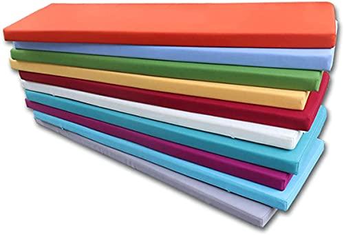 JYHJ Cojín rectangular de espuma viscoelástica, impermeable, suave, plegable, extraíble y lavable, para silla de exterior, A16, 60 x 30 x 5 cm (color: A15, tamaño: 150 x 30 x 5 cm)