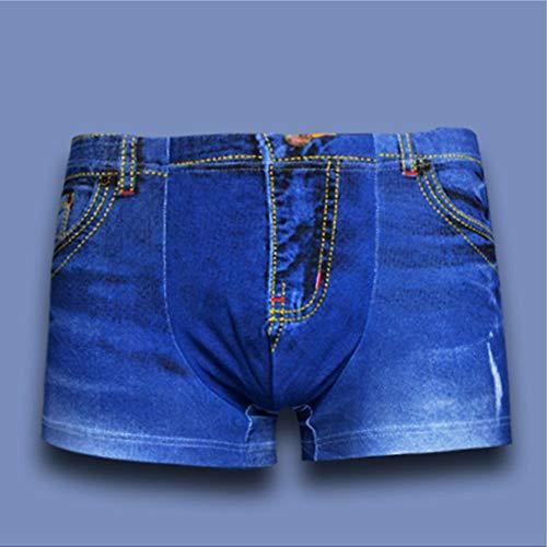 Weaton 3er-Pack, Denim-Bedruckte Unterwäsche, Baumwoll-Herren-Boxerhose 3D-3D-Druck, Bikinis, Boxershorts, Boxer, Slips, G-Strings & Thongs, weicher, bequemer, atmungsaktiver Sport