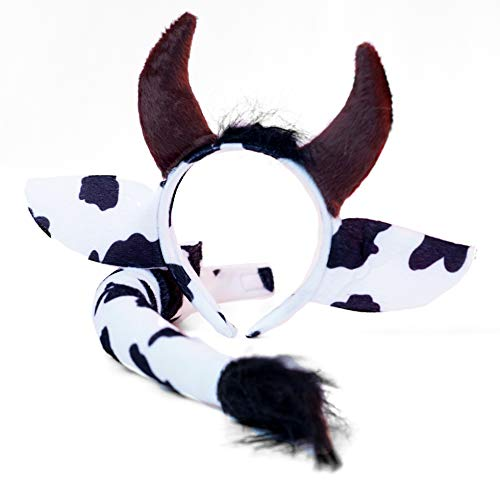 Cow Headband Ears and Tail Costume Accessory Set - Fits Adults and Kids Black