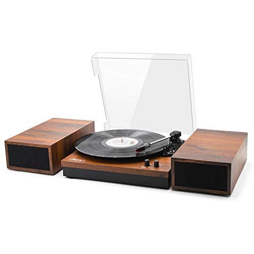 LP&No.1 Retro Belt-Drive Bluetooth Turntable with Stereo Bookshelf Speakers, 3-Speed Vinyl Record...