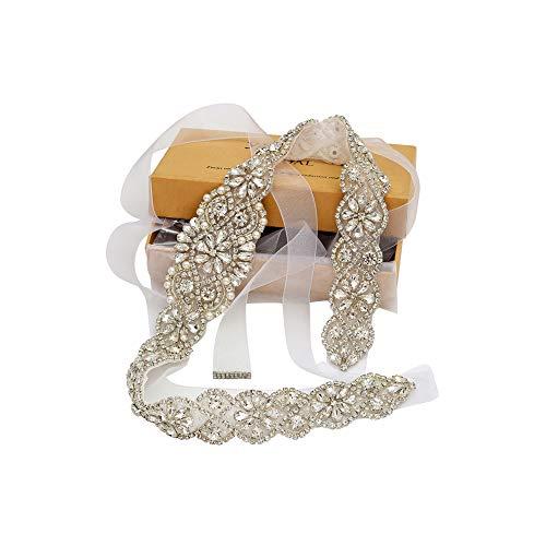 Yanstar Bridal Rhinestone Wedding Belts Hand Clear Crystal 22In Length with White Organza Ribbon for Bridal Gowns