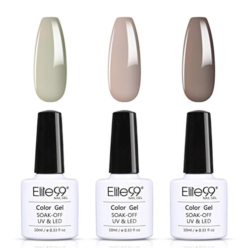Elite99 UV Nagellack Set 3 Farbe Farbe Gruppe 10ml, French Nägel Gel Nail Art Gel Geschenk Kit Gel Polish, 3pcs Gellacke UV Gelnägel Set015