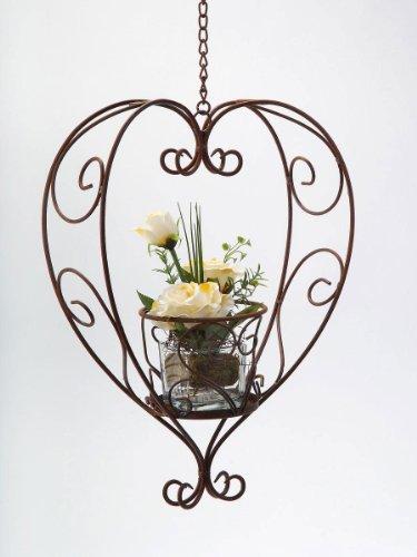 Blumenampel Herz aus Metall, rostig