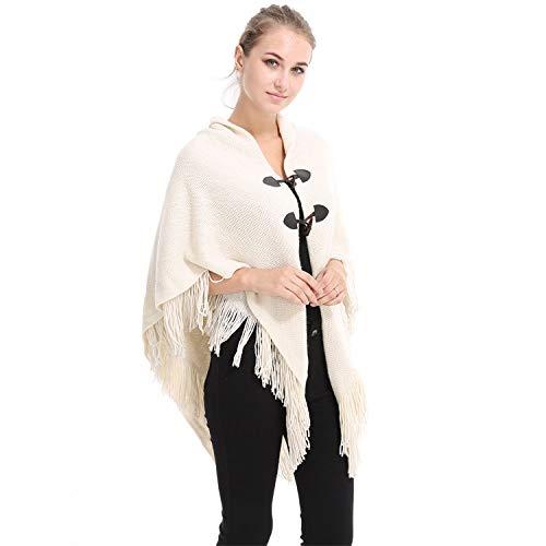 DANWJDP Vrouwen Poncho Cape, Herfst Mode Nieuwe Poncho Cape Vrouwen Verdikking Sjaal Vest Vrouwelijke Onregelmatige Tassel Hem Gebreide Vest Sweater Mantel Beige Winter Warme Jas