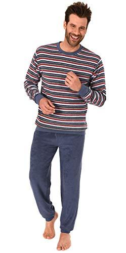 Herren Frottee Pyjama mit Bündchen Schlafanzug in lässiger Streifenoptik - 291 101 13 845, Größe2:50, Farbe:blau
