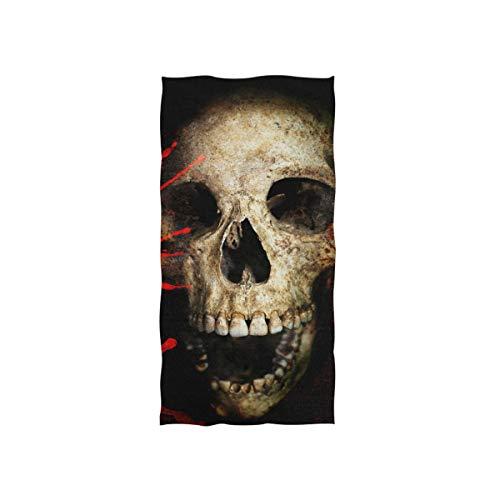 DOSHINE saugfähiges Baumwoll-Handtuch Vintage blutiger Totenkopf Halloween, Handtuch Mehrzweck-Handtuch für Badezimmer, Strand, Sport, Spa, 38,1 x 76,2 cm