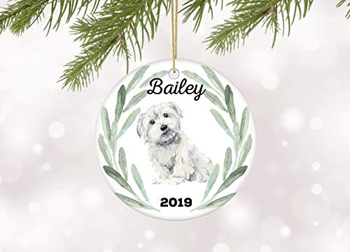 JamirtyRoy1 Maltese Christmas Ornament Personalized Dog Ornament With Maltese Gift for Dog Owner Family Dog Ornaments Maltese keepsake ornament Keepsake Gift, 3' Christmas Ornament