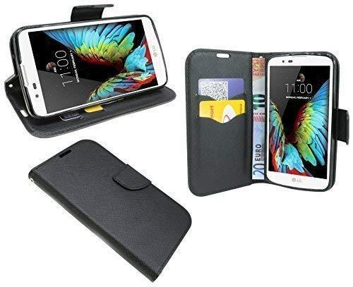 ENERGMiX Buchtasche Hülle kompatibel mit LG K10 Dual SIM (K430N) Case Tasche Wallet BookStyle mit Standfunktion in Schwarz
