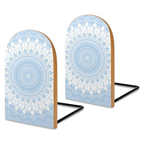 Fermalibri in legno, 2 pezzi, baby blue boho mandala decorativi in legno per scaffali, robusti supporti per libri, documenti da ufficio, riviste