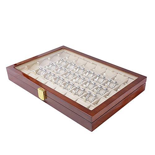 ACAMPTAR 40 Paar Manschetten Knopf und Krawatten Klammer Aufbewahrungs Box für Herren Mode Bemalte Holz Ring Ohrring Sammlung Schmuck Display Box