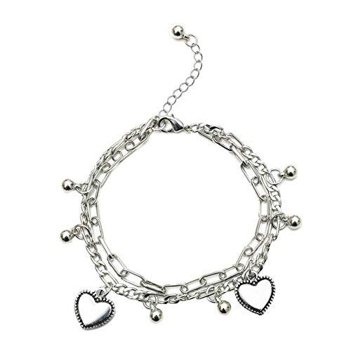 ZYYXB Pulsera de doble diamantes de imitación para el pie de la joyería para las niñas de la playa tobillera pulsera de tobillo de la cadena del pie accesorios ajustables para
