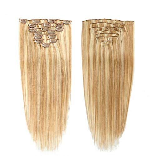Clip In Hair Extensions Human Hair 100% Remy Human Hair Clips In Extensions #P18/613 Honey Blonde Color/Light Blonde Color Clip In Human Hair for women 80g (16
