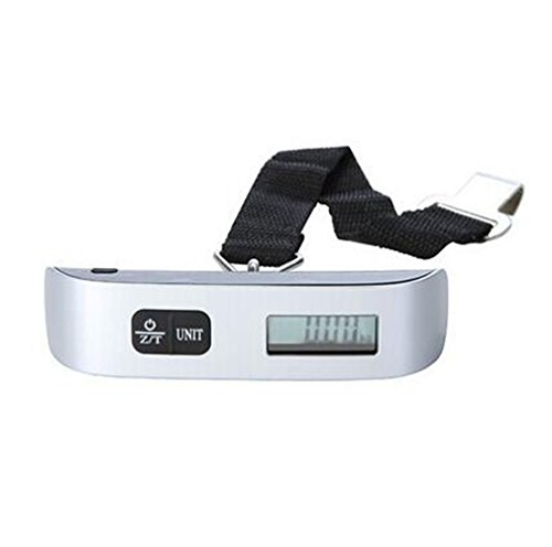 elegantstunning Digital Luggage Scale with LCD Backlight Portable Best for Travel (Silver)