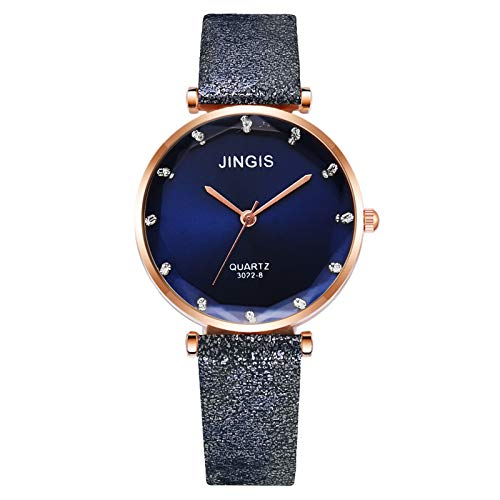 HEling Reloj de cuarzo para mujer, correa de piel retro, números árabes, reloj de cuarzo ajustable, esfera redonda, regalo casual, azul, talla única,