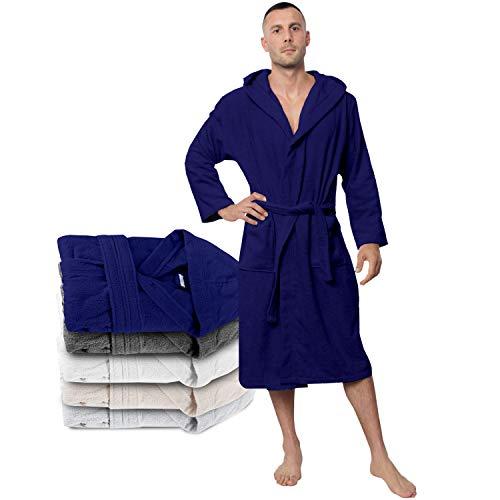 Twinzen Peignoir de Bain Homme - XS - Bleu - 100% Coton avec Capuche - Certifié OEKO-TEX® - Robe de Chambre Eponge 2 Poches, Ceinture - Doux, Absorbant et Confort