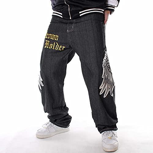 ZXMY Jeans Denim de los Hombres, Nueva Raya Denim Jeans 2021 Hip Hop Jeans Sueltos Hombres Impresos Hiphop Hip-Hop Cráneo Bordado Influy de la patineta Casual (Color : Schwarz, Size : 40)