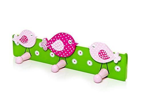 Mousehouse Gifts Kinder oder Baby Rosa Vogel Wandhaken Kleiderhaken für Mädchen