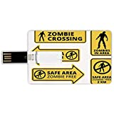 4G USB Flash Drives Credit Card Shape Zombie Decor Memory Stick Bank Card Style Safe Area Zombie Free Safe Protection Zone Caution Sign Horror War Design,Yellow Black Waterproof Pen Thumb Lovely Jump