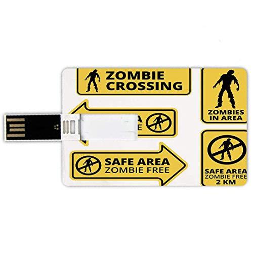 64G USB Flash Drives Forma de tarjeta de crédito Zombie Decor Memory Stick Estilo de tarjeta de banco Área segura Zombie Free Zona de protección segura Señal de precaución Horror War Design, Yellow Bl