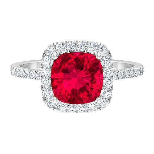 Anillo de compromiso de 8 mm de corte cojín con piedras laterales, anillo de halo de moissanita de oro blanco de 14 quilates rojo
