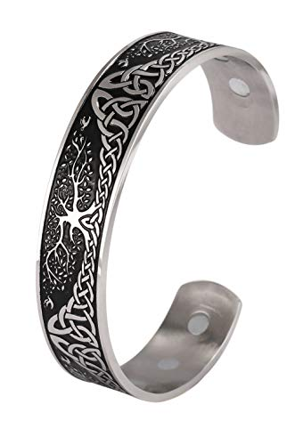 VASSAGO Stainless Steel Tree of Life Magnetic Therapy Energy Cuff Bangle Viking Celtic Knot Health Care Healing Bio Health Pain Relief Cuff Jewelry Bracelets for Men