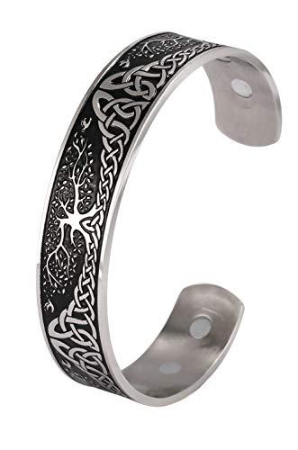 VASSAGO Pulsera magnética de acero inoxidable con diseño de árbol de la vida, terapia de energía, nudo celta vikingo, sanación de la salud, brazalete de joyería para hombres