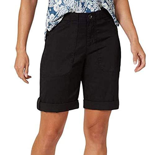 WUAI-Women Chino Bermuda Shorts Outdoor Casual Knee Length Lounge Yoga Jersey Summer Workout Cargo Shorts(Black,X-Large)