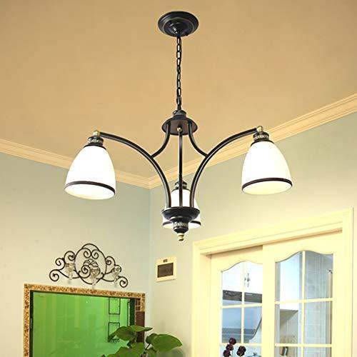 BANANAJOY Lampada da parete, Lampada a sospensione elegante lampadario Lampada a sospensione, classico Finiture di stile del ferro metallo nero, Camera da letto a parete o Diametro Soggiorno 3 Lampada