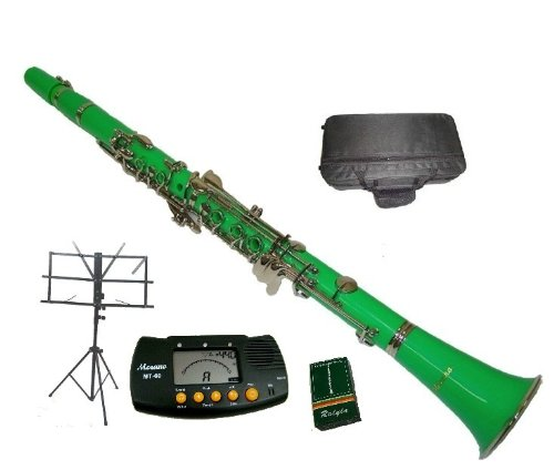 Merano B Flat Green/Silver Clarinet with Case+MouthPiece+Metro Tuner+Black Music Stand+11 Reeds