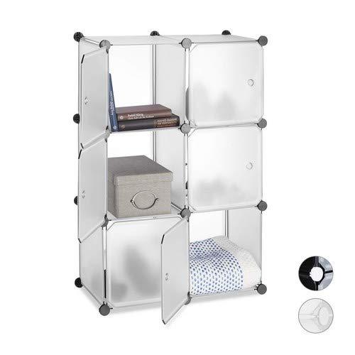 Relaxdays, transparent Regalsystem 6 Türen, DIY, Cubes, Grifföffnungen, Raumteiler, Badregal, Kunststoff, HBT 98x66x32cm