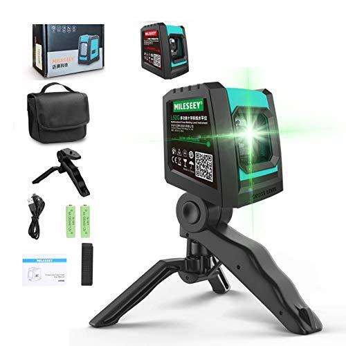 Nivel Láser Combinado, 3D Línea Láser Profesional, con Base Giratoria, Nivelador Laser Autonivelante, 2 Pilas AA, Carga USB, Soporte Giratorio Green