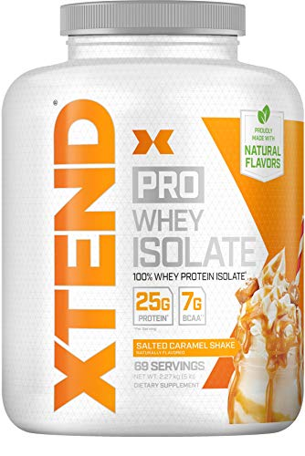 Scivation XTEND Pro 100% Whey Protein Isolate with Natural Flavors and Gluten Free Salted Caramel Shake 5 Pound (Pack of 1)