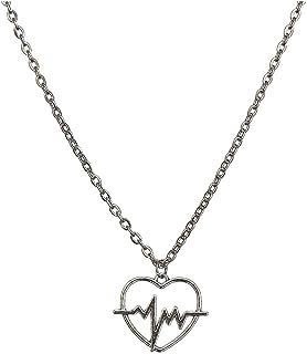 Necklaces البساطة قلادة سلسلة من الصلب التيتانيوم، شخصية بسيطة زوجين قلادة، سبيكة قلادة الحب قلادة نبضات Necklace for Wome...
