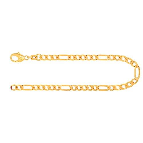Armband Figarokette diamantiert Gelbgold 585/14 K, Länge 19 cm, Breite 3.4 mm, Gewicht ca. 5.3 g, NEU
