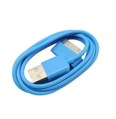 5 Pack of 1 Metre Sky Blue 30-Pin USB Data Sync Charging Cable Charger Lead Compatible with Apple iPhone 4 4S 3G 3GS Apple iPad 1st 2nd 3rd Gen iPod 5th Gen