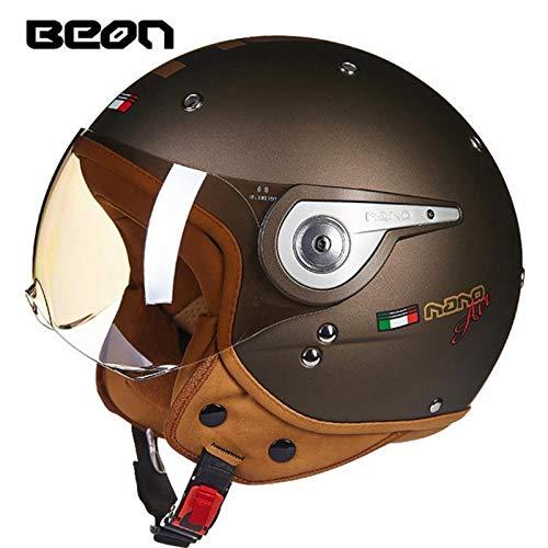 BEON Jethelm/Jet-Motorrad-Roller Cruiser Pilot Retro-Motorradhelm ECE R22 05 Zertifiziert Drop Down Visier,Gold,L57~58cm