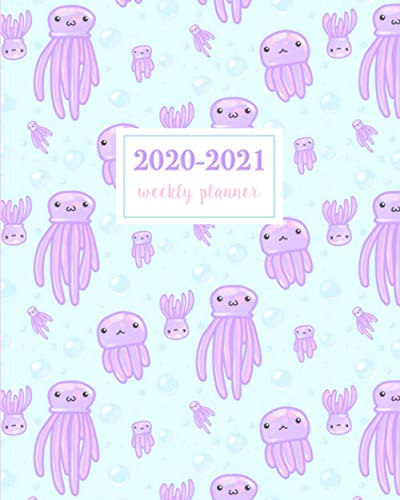 2020-2021 Weekly Planner: Cute Ocean Purple Adorable Jellyfish Kawaii Blue Aquatic Pattern Illustration Cover, Weekly and Monthly Standard Professional Calendar | 1 July 2020 - 31 December 2021